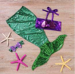 Girl Kids Swimming Suits Wholesale NZ - baby girls little mermaid set costume bikini swimwear swimsuit outfits dress bathing suit costume kids toddler girls swimming suits