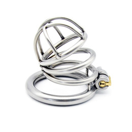 male chastity device cage ring UK - Latest Medium Size Male Stainless Steel Cock Penis Cage Ring Chastity Belt Art Device BDSM Sex toys