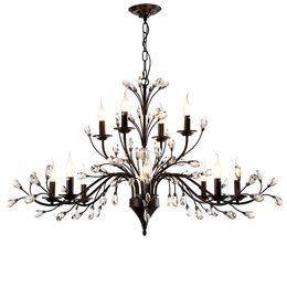 Luxury Kitchens Designs UK - Modern Luxury Design E14 K9 Crystal Black Iron Led Chandelier Lighting Fixtures for Hotel Loft Dining Room Bar Bedroom Home Lamp