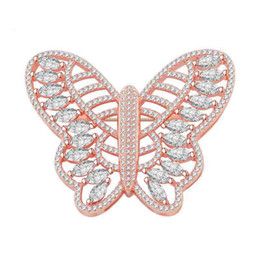 Chinese  Wholesale Handmade Diy Coat Findings Brooches Latest Design Crystal Rhinestone Butterfly Pin Lapel Hair Scarf Pins Brooch Jewelry Fittings manufacturers