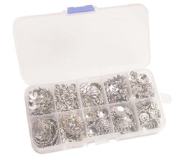 390PCS BOX Antiqued Silver Metal Beads Caps W Container (10 Styles)