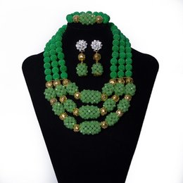 Indian Coral Beads Australia - Green Coral Beads and Crystal Beads Combination Beaded Necklace Wedding Beads African Jewelry Set Bridal Nigerian Jewelry Set for Women YQ3-
