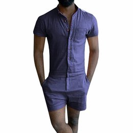 Short jumpSuit men online shopping - New Free Summer Unique Romper Men Linen Shirt Short Sets Single Breasted Jumpsuit Fashion Overalls Tracksuit Casual Cargo Pants