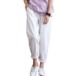 073bfe8e0c Pantalones Mujer Pantalones Casual Algodón Lino Cintura Elástica Pantalones  Verano Mujer Azul Marino Rojo Blanco Negro Pantalon Femme Ete