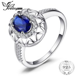 unique silver jewelry Canada - JewelryPalace Unique Fine 1.2 ct Created Blue Sapphire Ring 925 Sterling Silver Fashion Women Jewelry 2018 Brand Rings For Women Y18102510