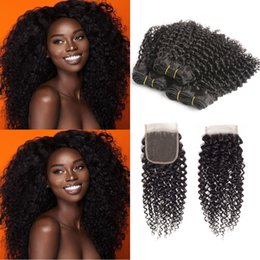 34 inches hair Australia - Kinky Curly Hair Bundles with Closure Brazilian Human Hair Natural Color 100% Virgin Human Hair 3 Bundles with 4*4 Lace Closure