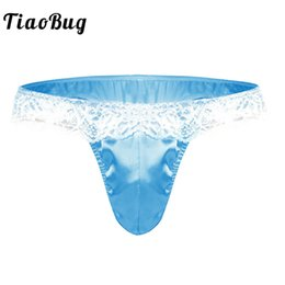 6f01646b4f TiaoBug Sexy Men Stretchy Lingerie Bulge Pouch Low Rise Ruffle Lace Shiny  Satin Men Bikini Briefs Gay Underwear Sissy Panties