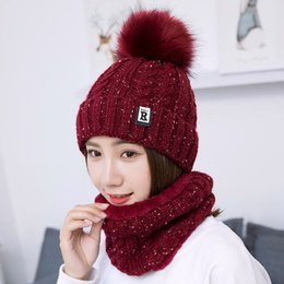 753e7b003e880a 2pcs Neck warm hat velvet fur pompoms knit mask winter hat for women girl  wool beanies Skullies Bonnet Femme Balaclava sacrf set