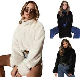 Chinese  18 FW Women Fashion Downy Crop Tops Rabbit Hair Like Short Pullovers High Street Chic Women Clothes manufacturers