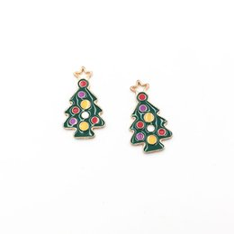 holiday gold UK - 30pcs lot Holiday Style Colorful Christmas Tree Shape Charms Gold Plated Enamel Christmas Decoration Pendants for Jewelry Makings Gifts DIY