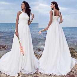 $enCountryForm.capitalKeyWord UK - Plus Size Beach Wedding Dresses 2018 Empire Waist A Line Sweep Train White Chiffon Ruched flowy skirt Beach Wedding Gowns greek goddess