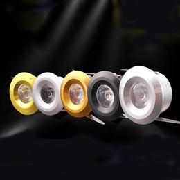 Small Spotlight Lamp Canada - 1W Mini LED Spotlight Super Small Lamp LED Cabinet Lighting With Black   Silver  Gold Body Color