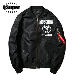 motorcycle jacket luxury Canada - QSuper Luxury Fashion Bomber Jackets Men Hip-hop Streetwear Baseball Jacket Pilot MA-1 Jacket Lover Motorcycle