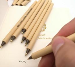 Vente en gros Peut imprimer LOGO haut de gamme stylo gel Fashions Simple vert e-friendly Kraft papier Shell Stylos Bureau école offre étudiant cadeau créatif 1.0