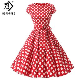 068b0c922fe8 Donna Retro Abiti 2018 New Audrey Hepburn anni  50 anni  60 Rockabilly Polka  Dot Bow Pinup Ball Grown Party Robe Plus Size 2XL D83307A