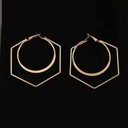 romantic tops for women 2019 - Top Quality Simple Romantic Alloy Jewelry Hollow Geometric Big Circle Hoop Earrings For Women Brinco 2018 Hiphop Jewelry