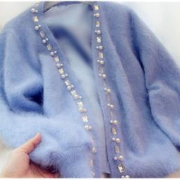 e17a683de7 Beaded Cardigans Women NZ - Women Cardigans Sweater Beaded rhinestone pearl  Female Mohair Knitted Cardigans Blue