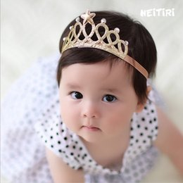 Wholesale Infants Crown Headband Party Princess Star Shinning Hairband photography Gold silver Colors Hair Accessories