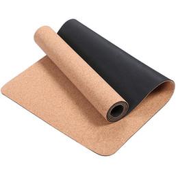 bdd22ef0b 4 5   6MM antideslizante TPE + tapetes de yoga corcho para la aptitud  Natural Pilates gimnasia esteras deportivas Yoga ejercicio almohadillas  masaje