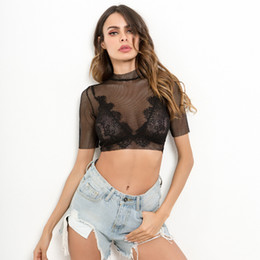 T-shirts Tops & Tees Sexy Lace Gothic Tees Summer Crop Top Women Transparent Tops Fashion Embroidery Turtleneck Slim Ladies Club Wear Black T Shirts