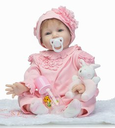 "Baby Rattle Rabbit Australia - 22"" fashion girl doll reborn soft cloth body silicone reborn babies with rabbit rattle for kids gift bebe alive bonecas"