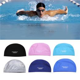 Hair Swimming NZ - Swimming Caps Unisex MenWaterproof Sports Pool Bathing Elastic Ear Hair Head Hat Professional Swimming Fitness Tool