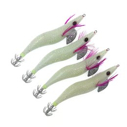 Shrimp Bait Australia - 4Pcs 3.5# Squid Jigs Lure 13.5CM 21G Octopus Jigs Lure Wood Luminous Shrimp Fishing Lure Cuttlefish Artificial Bait
