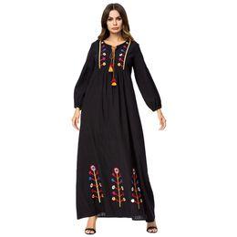 f15b3fec4a 187208 Plus Size Muslin Long Sleeved Embroidered Women Robes 2018 Autumn  Corban New Fashion Korean Dress muslim hijabs robes abaya