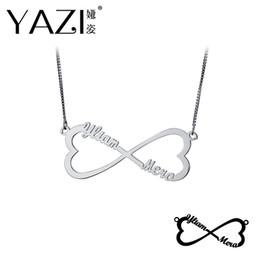 Discount custom logo pendants - YAZI DIY Name Infinity Necklace Engraved Couple Name Pendant Unisex Personalized Lucky Logo Custom Jewelry For Lover Mem