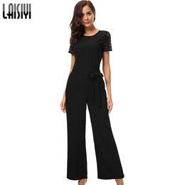 Elegant Jumpsuits Sleeves Australia - LAISIYI Summer Jumpsuit Woman 2018 elegant Lace Short Sleeve Backless Black Jumpsuit Long Ladies Office Rompers Red ASJU20255