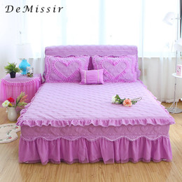 Edged Skirt Canada - DeMissir Korea Style 3Pcs Set Quilting Ruffle Lace Edge Cotton Thick Bed Skirt 1.5M 1.8M 2.0M Queen Bed Fitted Sheet Cover