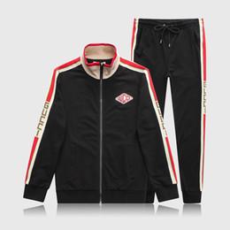 Active Kit NZ - Luxury Mens Tracksuit Designer Men Suit Jackets + Pants Zipper Coat Long Pants Letter High Street Striped Kits