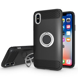 Hot Sales Iphone Case Australia - hot sale cell phone case full protection carbon fiber tpu pc hybrid ring stand shockproof case for iphone X 7 8 plus
