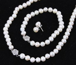 "$enCountryForm.capitalKeyWord Australia - 8-9mm White Akoya Cultured Pearl Jewelry Bracelet Necklace Earrings Set 18""7.5"""