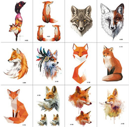 tattoos hand for man NZ - 12 PCS lot Fox Temporary Tattoo Sticker for Women Men Fashion Body Art Adults Waterproof Hand Fake Tatoo 9.8X6cm