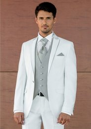 suit brands NZ - Brand New Groomsmen Peak Lapel Groom Tuxedos White Men Suits Wedding Prom Best Man Blazer ( Jacket+Pants+Vest+Tie ) A159
