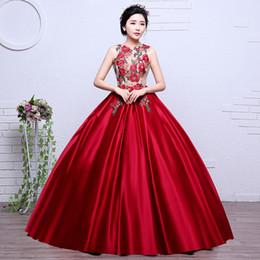 $enCountryForm.capitalKeyWord NZ - Colorful Organza Hot Sale New Style Red Embroidery Girls Wedding Dress 2018 O-neck Bridal Boat Gown Vestidos De Novia