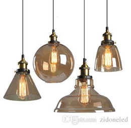 Loft Glass Droplight Retro Luces colgantes Smoky Gray Lámpara colgante E27 Lámparas colgantes Accesorio de iluminación industrial para bar restaurante luz en venta