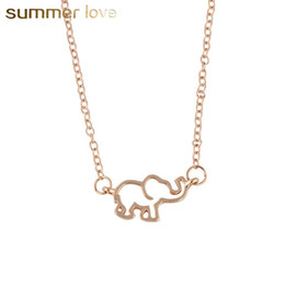 white elephant gifts 2019 - 2018 New Arrival Hollow Elephant Shape Chain Necklece For Women Girl Cute Baby Elephant Pendant Necklace Lucky Jewelry A