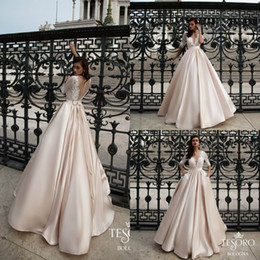 half sleeves satin robe 2019 - Tesoro 2019 Autumn Wedding Dresses A Line Lace Half Sleeve Floor Length Satin Bridal Gowns Plus Size Robe De Mariée chea
