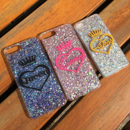 Discount red heart queen - for iphone 6 6s 7 8 plus X Luxury Thailand Exclusive Customize Name King Queen Heart glitter bling soft case cover