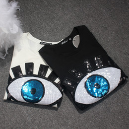 chemises en coton lycra achat en gros de-news_sitemap_home2018 Summer New Fashion Big Eyes Sequins Lycra coton T shirt pour femmes