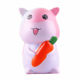 Animal Cake Designs Canada - New Design Jumbo Squeeze Toy Squishy Hamster Kawaii Cute Animal Slow Rising Sweet Scented Vent Charms Bread Cake Kids Toy