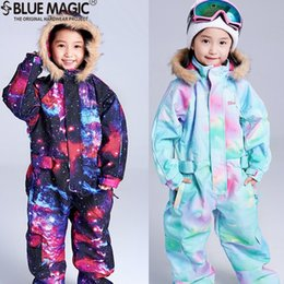 Discount pink overalls for girls - bluemagic snow ski suits toddler one piece for kids waterproof warm jumpsuit girls boys snowboard jacket overall -30degr