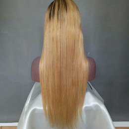 straight blonde wig roots NZ - Two Tone Color 1B 27 Long Silky Straight Human Hair Lace Front Wigs Pre-Plucked Brazilian Black Roots Ombre Honey Blonde Lace Front Wigs