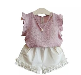 Discount baby short sleeve shirt - 2 Color Girls INS Chiffon set 2018 new Children fashion Flying sleeve t shirt + shorts 2 pieces set suit Baby kids cloth
