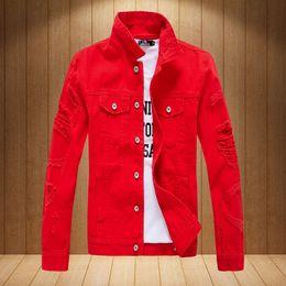 6ccfa3594be Hip Hop Mens Denim Jacket Broken Ripped Jean Jacket Men Urban Clothes Turn-down  Collar Solid Outwear