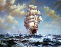 $enCountryForm.capitalKeyWord NZ - Big sail boats on ocean with waves Handpainted & HD Print seascape Art oil painting,Home Deco Wall Art On Canvas Multi Size l120