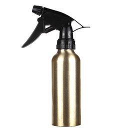 China 200ml Gold Aluminum Water Spray Empty Bottle Hair Salon Pro Hairdressing Sprayer Atomiser Refillable Bottle Barber Styling Tools suppliers