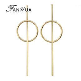 fanhua jewelry UK - FANHUA Punk Rock Style Gold-Color Silver Color Minimalist Jewelry Geometric Circle Long Stud Earrings for Women